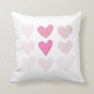Pink Love Hearts Throw Cushion