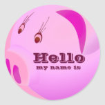 Pink Love,Hello my name is.._ Round Stickers