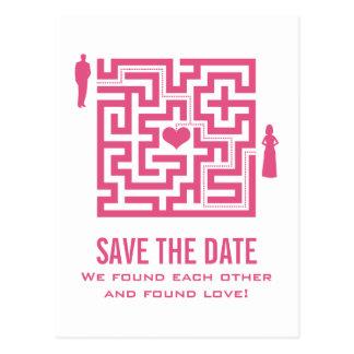 Pink Love Maze Save the Date Postcard