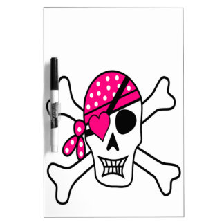 Pink Love Pirate Dry Erase Boards