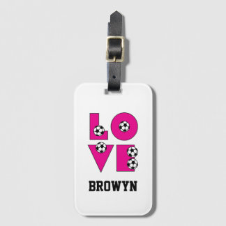 Pink Love Soccer with Soccer Balls Luggage Tag