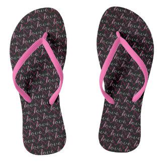 Pink Love Word Pattern Black Trendy Stylish Girly Flip Flops