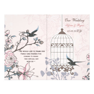pink lovebirds  bircage bi fold Wedding program Flyer