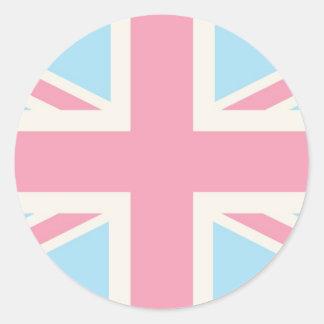 Pink Lovely Classic Union Jack British(UK) Flag Round Sticker