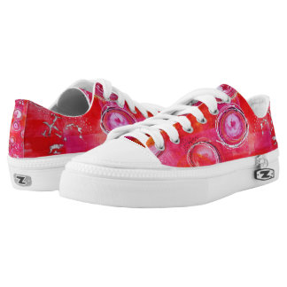 Pink Low Top Womens Tennis Shoes - Pink Aura Printed Shoes