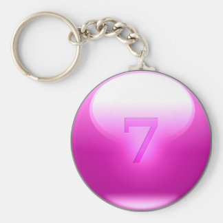 Pink Lucky 7 Basic Round Button Key Ring