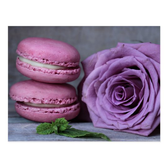Pink Macarons Purple Rose French Pastry Postcard