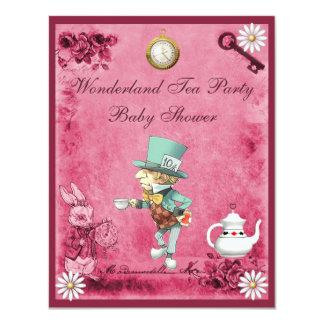 Pink Mad Hatter Wonderland Tea Party Baby Shower 11 Cm X 14 Cm Invitation Card