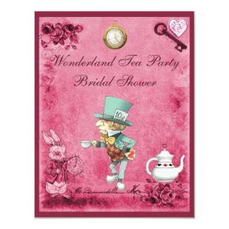 Pink Mad Hatter Wonderland Tea Party Bridal Shower 11 Cm X 14 Cm Invitation Card