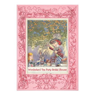 Pink Mad Hatter's Tea Party Bridal Shower Personalized Invite