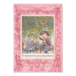Pink Mad Hatter's Wonderland Tea Party Baby Shower 13 Cm X 18 Cm Invitation Card