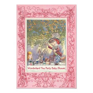 Pink Mad Hatter's Wonderland Tea Party Baby Shower 13 Cm X 18 Cm Invitation Card