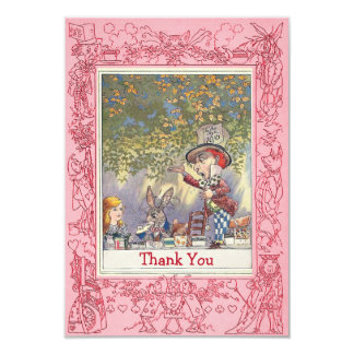 Pink Mad Hatter's Wonderland Tea Party Thank You 9 Cm X 13 Cm Invitation Card