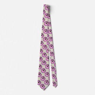 Pink Magenta  Daisy on Cream Leather Print Tie