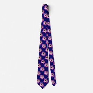 Pink Magenta Daisy on Royal Blue leather Print Tie