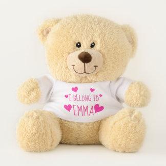 Pink Magenta Hearts   Personalised I Belong To Teddy Bear
