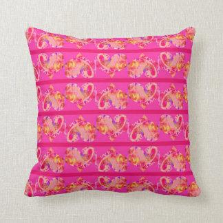 Pink Magenta Hearts Striped Pattern Cushion