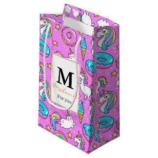 Pink magical unicorns personalized monogram small gift bag