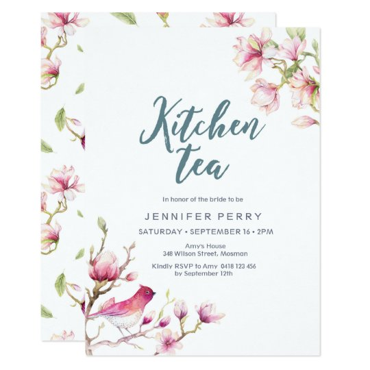 Pink Magnolia Floral Kitchen Tea Party Invitation Zazzlecouk