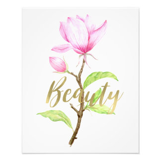 Pink Magnolia Flower Beauty Photo Print