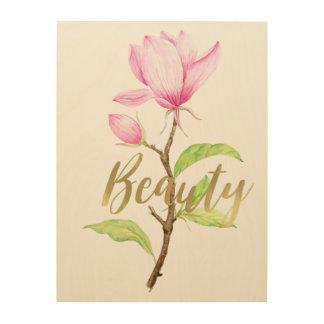 Pink Magnolia Flower Beauty Wood Print