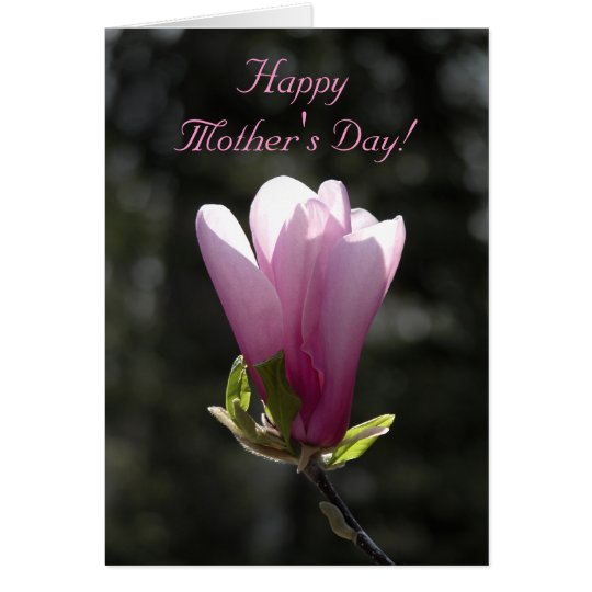 Pink Magnolia Flower Happy Mothers Day Card