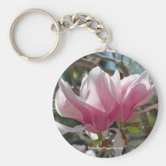 Pink Magnolia Flower Photo Keychain