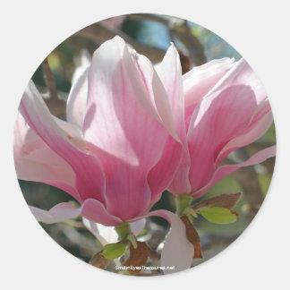 Pink Magnolia Flower Photo Sticker Label
