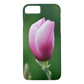 Pink magnolia flower print iphone case