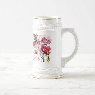 Pink Magnolia Flowers Beer Stein