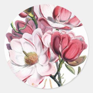 Pink Magnolia Flowers Classic Round Sticker
