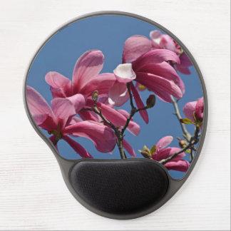 Pink magnolia flowers print gel mousepad