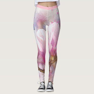 Pink magnolia leggings