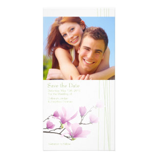 Pink Magnolia Save the Date Photo Card