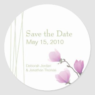 """Pink Magnolia """"Save the Date"""" Sticker"""