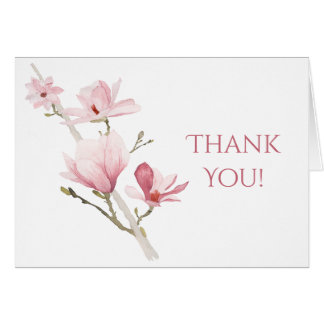 Pink Magnolias and Greenery Thank You Card