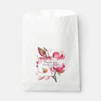 Pink Magnolias Wedding Favor Bag