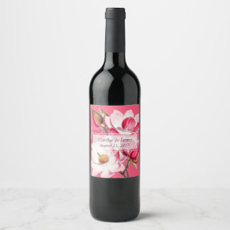 Pink Magnolias Wedding Wine Label
