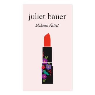 Pink Makeup Artist Floral Lipstick Logo Beauty Business Cards