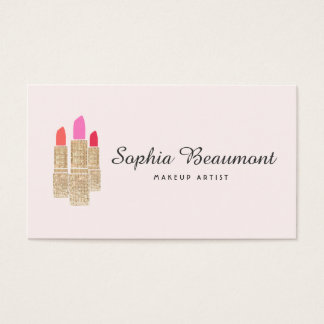 Pink Makeup Artist Gold Sequin Lipstick Beauty Business Card