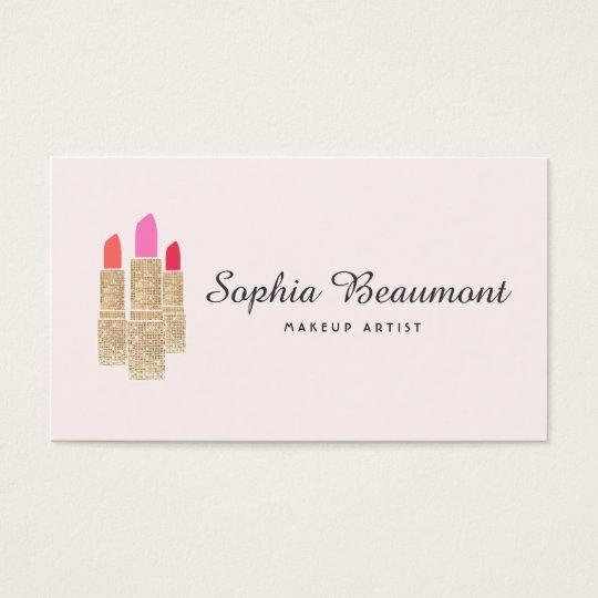 Pink Makeup Artist Gold Sequin Lipstick Beauty Business