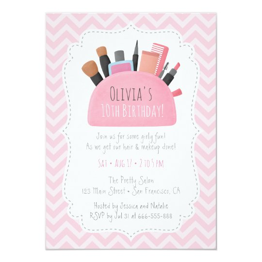 Pink Makeup Pouch Girls Birthday Party Invitations