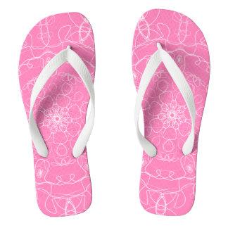 Pink mandala line Art pattern minimal simple Flip Flops