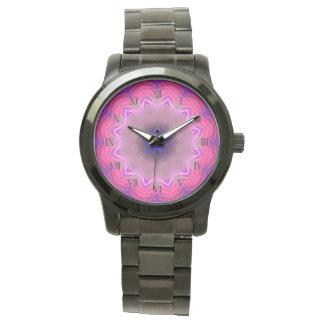 Pink Mandala Oversized Black Bracelet Wrist Watch