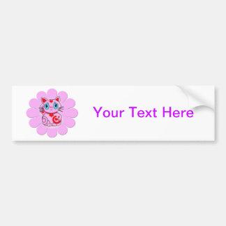 Pink Maneki Neko Lucky Beckoning Cat Bumper Sticker