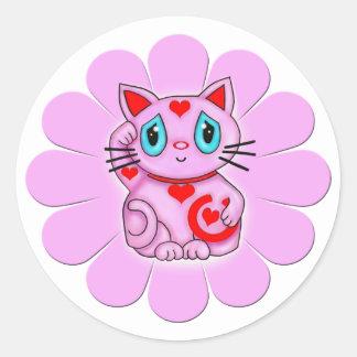 Pink Maneki Neko Lucky Beckoning Cat Round Sticker