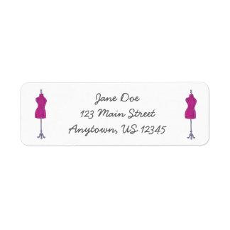Pink Mannequin Return Address Labels