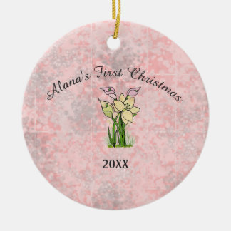 Pink Marble Baby First Christmas Christmas Ornament