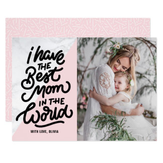 Pink & Marble Best Mom Hand Lettering Mother's Day Card