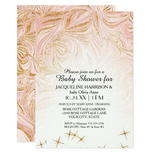 Pink marble Girl Baby Shower Rose Gold Glitter